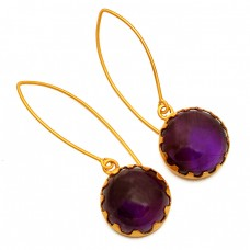 Round Cabochon Amethyst Gemstone Sterling Silver Gold Plated Earrings