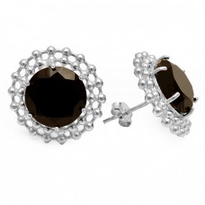 Filigree Style Black Onyx Gemstone 925 Sterling Silver Gold Plated Stud Earrings Jewelry