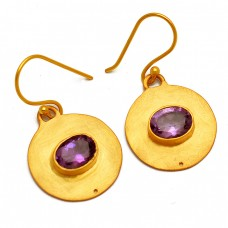 Handcrafted Amethyst Oval Gemstone 925 Sterling Silver Gold Plated Earrings