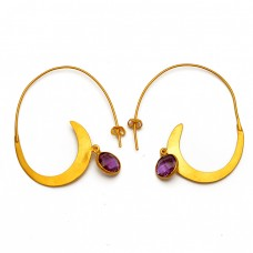 Stylish Amethyst Round Shape Gemstone 925 Sterling Silver Gold Plated Hoop Earrings