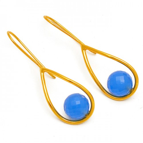 Balls Shape Blue Chalcedony Gemstone Sterling Silver Gold Plated Fixed Ear Wire Earrings