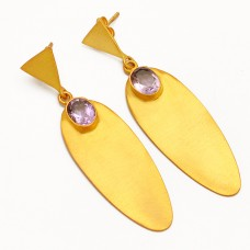 Amethyst Oval Cut Gemstone 925 Sterling Silver Gold Plated Stud Dangle Earrings Jewelry