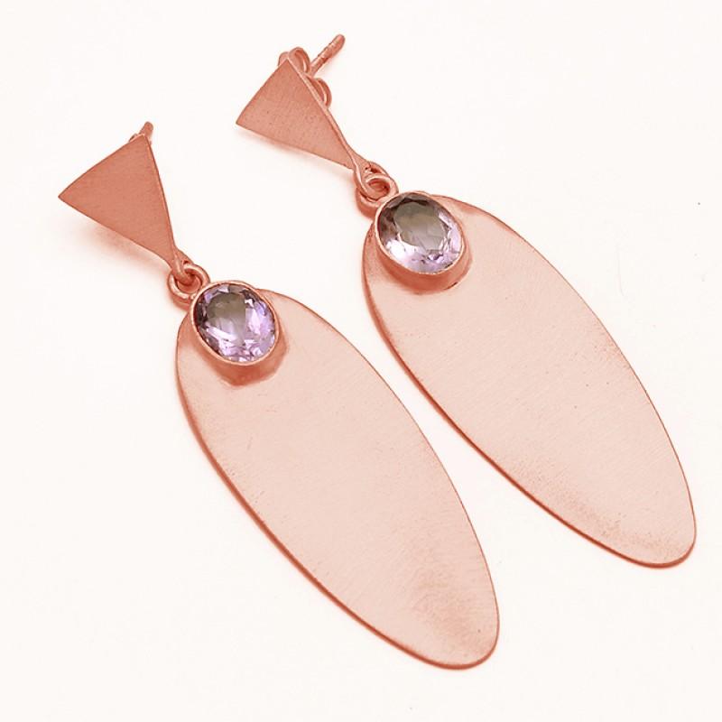 Amethyst Oval Cut Gemstone 925 Sterling Silver Gold Plated Stud Dangle Earrings Jewelry