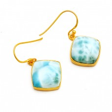 Cabochon Cushion Larimar Gemstone 925 Sterling Silver Gold Plated Earrings Jewelry