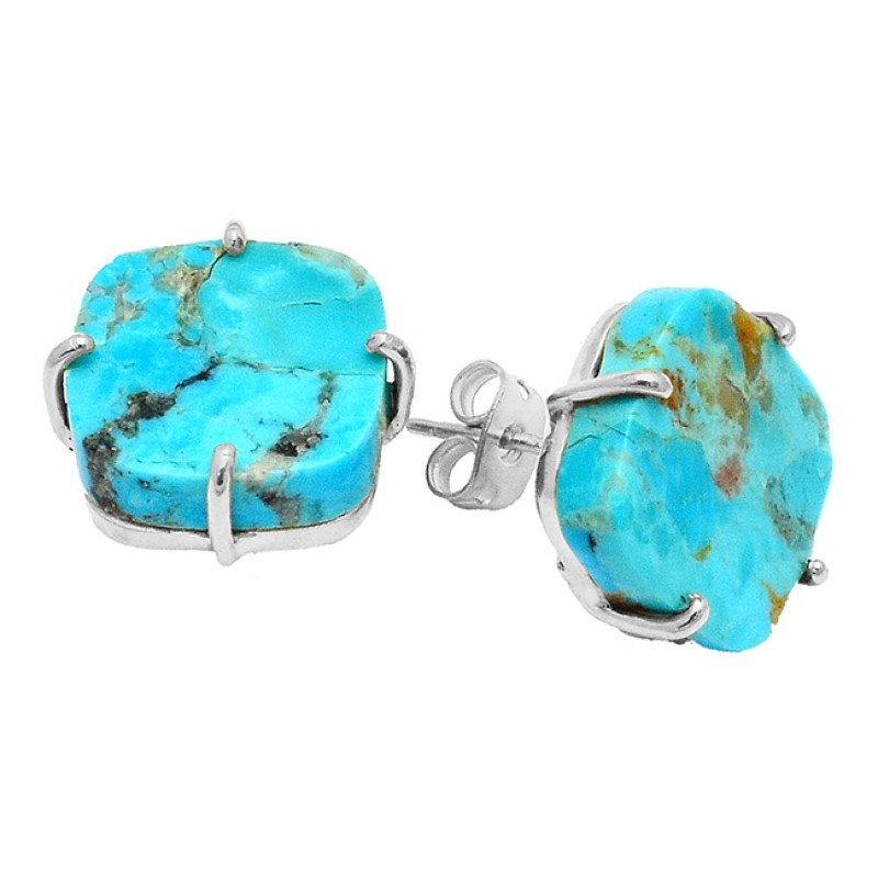 turquoise Cushion Gemstone 925 Sterling Silver Gold Plated Stud Earrings Jewelry