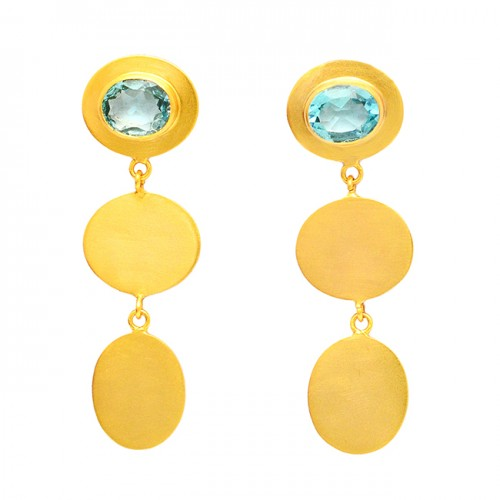 Blue Topaz Faceted Oval Gemstone Sterling Silver Gold Plated Stud Dangle Earrings
