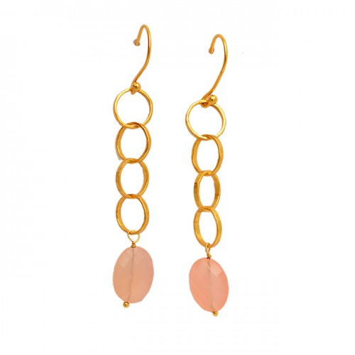 Rose Chalcedony Briolette Oval Gemstone 925 Sterling Silver Gold Dangle Earrings