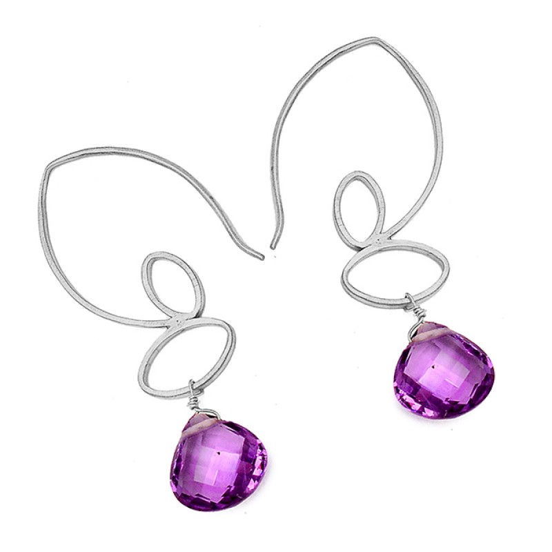 Stylish Handcrafted Amethyst Gemstone Dangle Earrings 925 Sterling Silver Gold Plated Jewelry