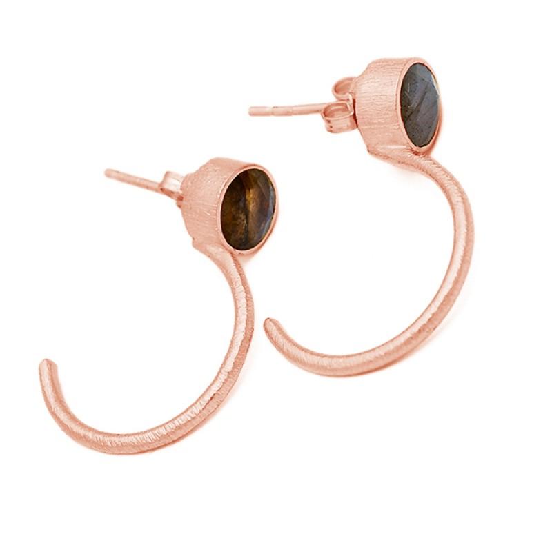 Smoky Quartz Round Shape Gemstone Sterling Silver Gold Plated Hoop Earrings