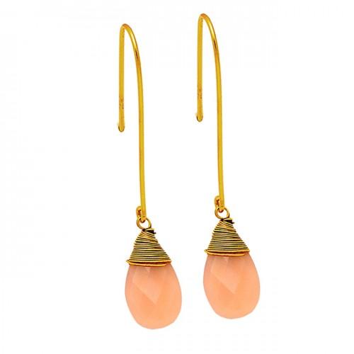 Briolette Pear Shape Rose Chalcedony Gemstone 925 Sterling Silver Gold Plated Earrings