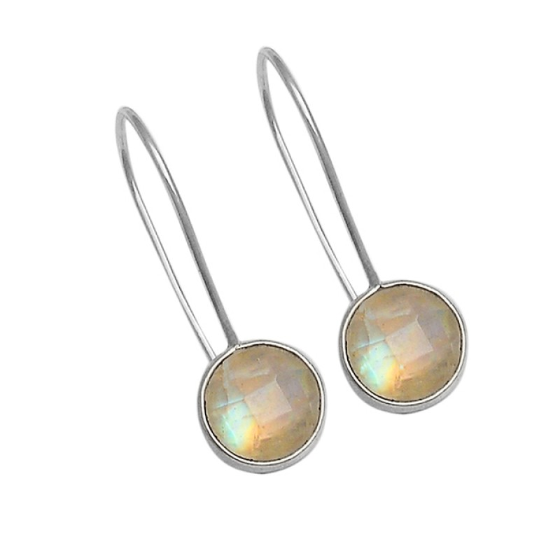 Round Briolette Rainbow Moonstone 925 Sterling Silver Fixed Ear Wire Earrings