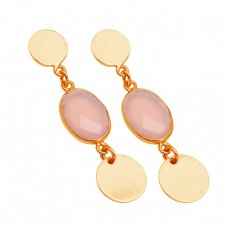 Bezel Setting Rose Chalcedony Gemstone 925 Sterling Silver Gold Plated Dangle Stud Earrings