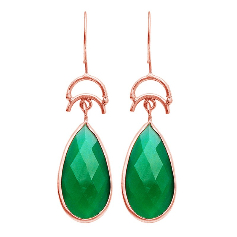Briolette Pear Green Onyx Gemstone Dangle Earrings 925 Sterling Silver Gold Plated Jewelry