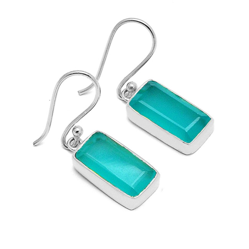 Rectangle Prehnite Color Chalcedony Gemstone 925 Sterling Silver Gold Plated Earrings
