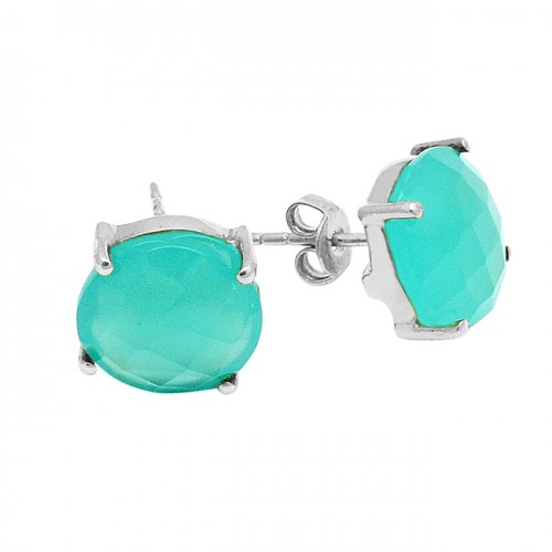 Round Briolette Chalcedony Gemstone 925 Sterling Silver Gold Plated Prong Setting Stud Earrings
