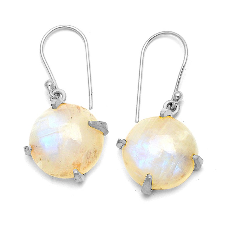 Nice Blue Fire Round Cabochon Rainbow Gemstone 925 Sterling Silver Gold Plated Earrings