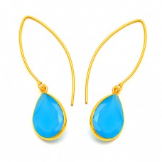 Faceted Pear Turquoise Gemstone 925 Sterling Silver Gold Plated Hoop Earrings