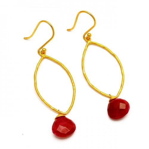 Briolette Heart Shape Ruby Gemstone 925 Sterling Silver Gold Plated Dangle Earrings