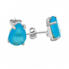 Aqua Chalcedony Gemstone Pear Cut 925 Sterling Silver Gold Plated Earrings