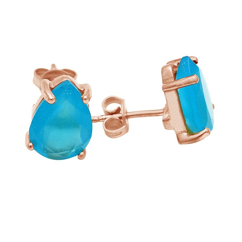 Aqua Chalcedony Gemstone Pear Cut 925 Sterling Silver Gold Plated Earrings