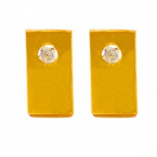 925 Sterling Silver Round Shape Cubic Zirconia Gemstone Gold Plated Stud Earrings