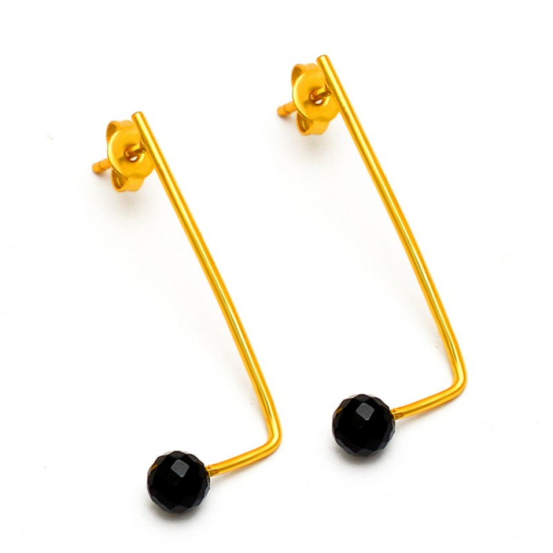 Black Onyx Round Balls Shape Gemstone 925 Sterling Silver Gold Plated Hoop Earrings