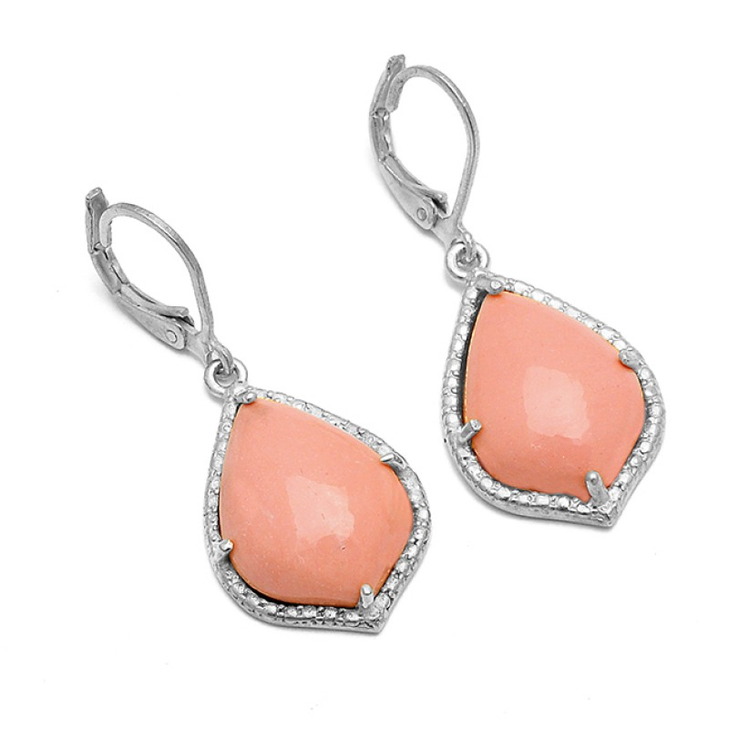 Pear Cabochon Pink Opal Gemstone 925 Sterling Silver Gold Plated Designer Clip-On Earrings