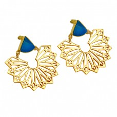 Triangle Shape Blue Quartz Gemstone 925 Sterling Silver Gold Plated Filigree Style Stud Earrings