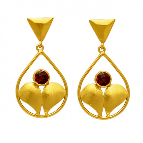 925 Sterling Silver Red Garnet Round Gemstone Handcrafted Dangle Gold Plated Stud Earrings