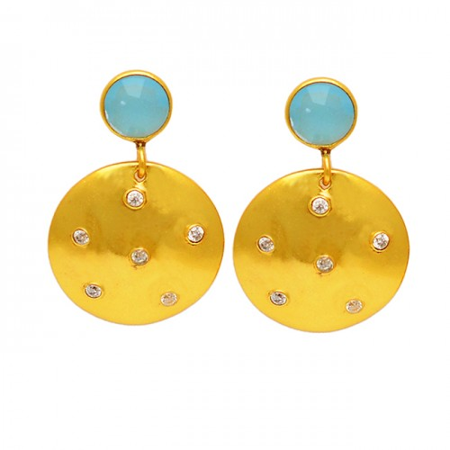 Chalcedony Cubic Zirconia Gemstone 925 Sterling Silver Gold Plated Stud Dangle Earrings