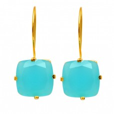 Cushion Shape Aqua Chalcedony Gemstone 925 Sterling Silver Gold Plated Fixed Ear Wire Earrings