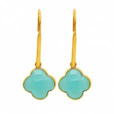 925 Sterling Silver Carved Flower Shape Chalcedony Gold Plated Dangle Earrings