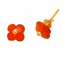 Carved Flower Shape Carnelian Gemstone 925 Sterling Silver Gold Plated Stud Earrings