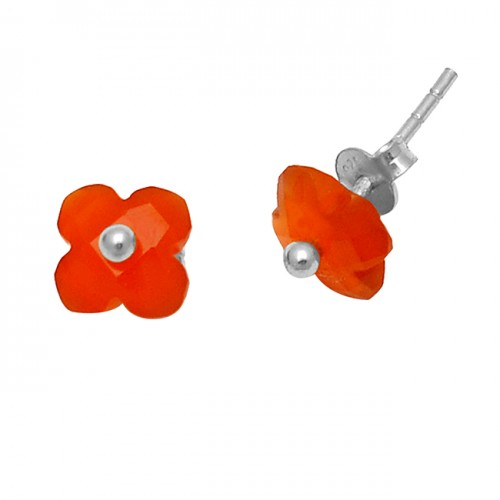 Carved Flower Shape Carnelian Gemstone 925 Sterling Silver Gold Plated Stud Earrings
