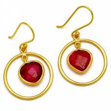 Ruby Heart Shape Gemstone 925 Sterling Silver Gold Plated Dangle Handmade Earrings