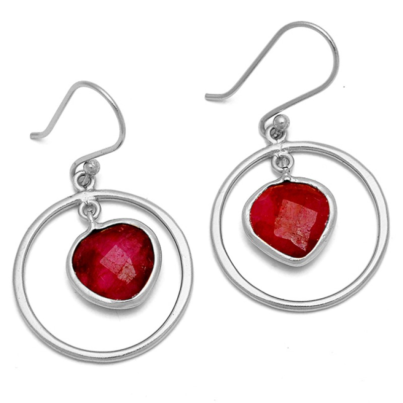 Ruby Heart Shape Gemstone 925 Sterling Silver Gold Plated Dangle Handmade Earrings