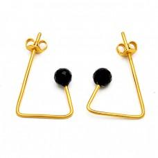 925 Sterling Silver Black Onyx Round Balls Shape Gemstone Gold Plated Hoop Earrings