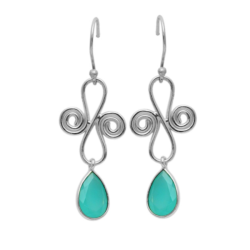 Aqua Chalcedony Pear Shape Gemstone 925 Silver Gold Plated Designer Earrings