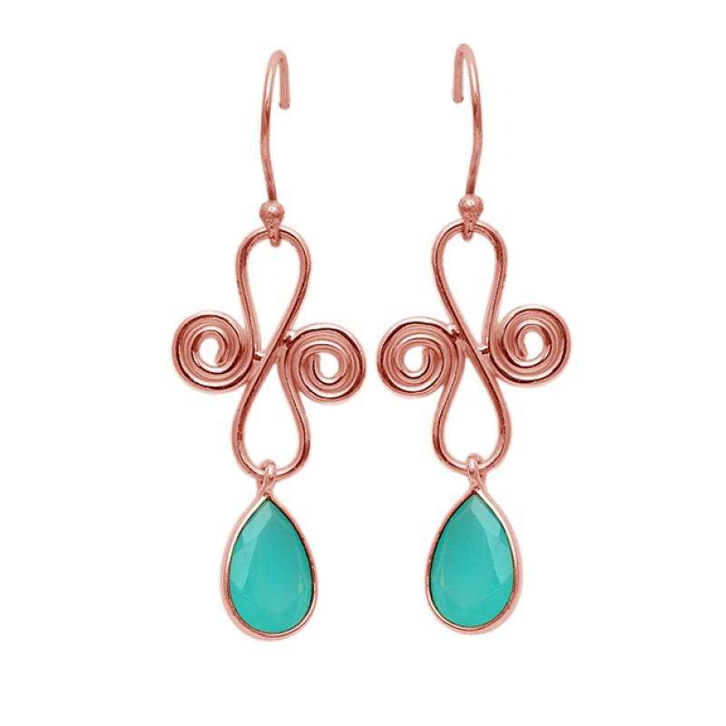 Aqua Chalcedony Pear Shape Gemstone 925 Silver Gold Plated Designer Earrings