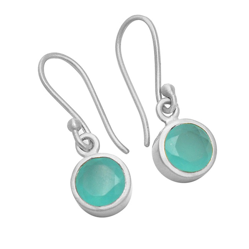 Faceted Round Shape Chalcedony Gemstone 925 Sterling Silver Gold Plated Earrings