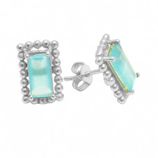 Rectangle Shape Aqua Chalcedony Gemstone 925 Sterling Silver Gold Plated Stud Earrings