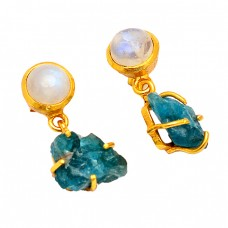Rainbow Moonstone Apatite Rough Gemstone Gold Plated Stud Dangle Earrings
