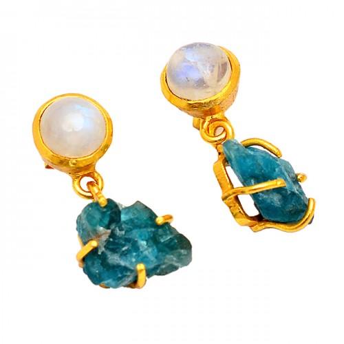 Rainbow Moonstone Apatite Rough Gemstone Gold Plated Stud Dangle Earrings
