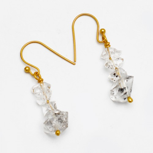 Herkimer Diamond Rough Gemstone 925 Sterling Silver Gold Plated Dangle Earrings
