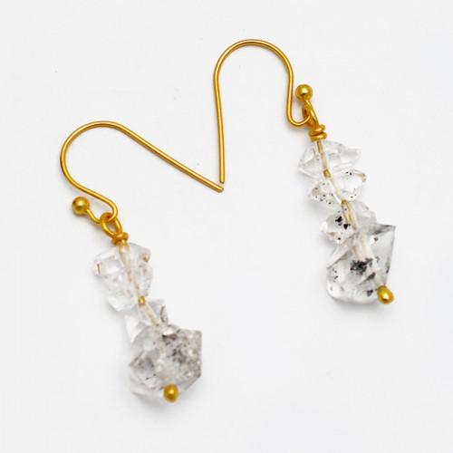 Herkimer Diamond Rough Gemstone 925 Sterling Silver Gold Plated Dangle Earrings