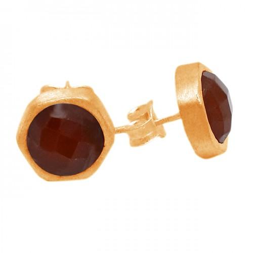 Briolette Round Red Onyx Gemstones 925 Sterling Silver Stud Earrings