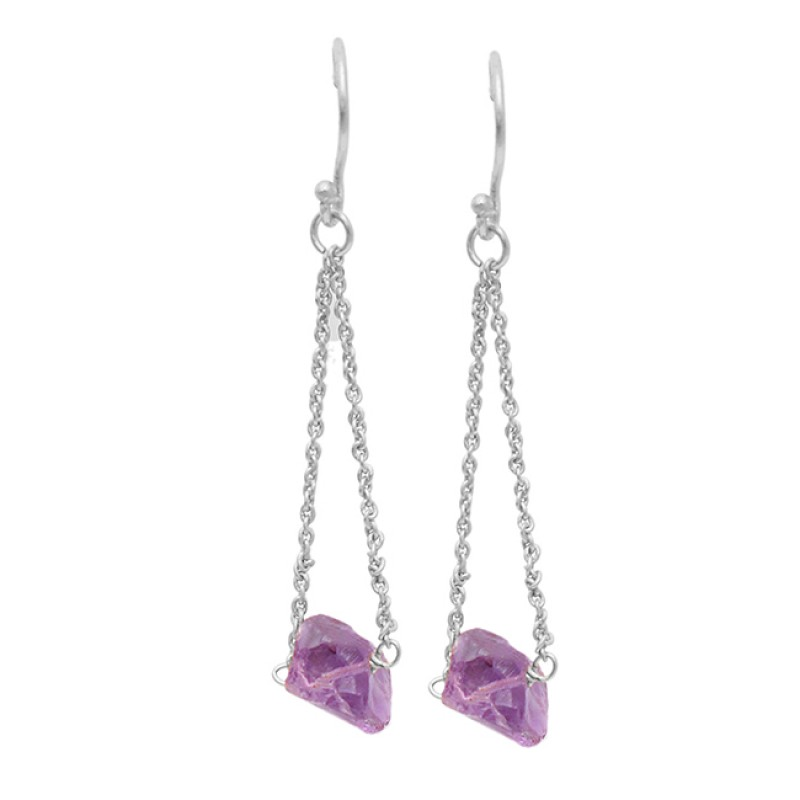 925 Sterling Silver Amethyst Rough Gemstone Hanging Chain Gold Plated Dangle Earrings