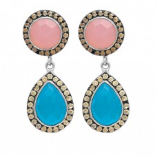 Pave Cz Chalcedony Gemstone 925 Sterling Silver Gold Plated Dangle Stud Earrings