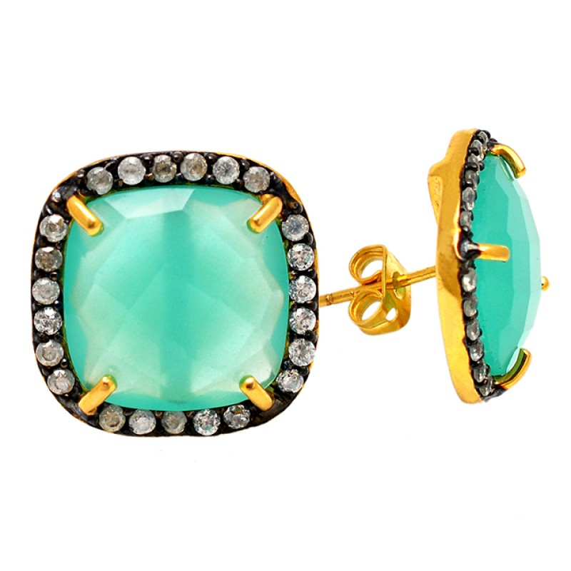 Pave Cz Aqua Chalcedony Gemstone 925 Sterling Silver Gold Plated Stud Dangle Earrings