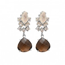 Smoky Quartz Moonstone Cz Gemstone 925 Sterling Silver Gold Plated Danlge Stud Earrings
